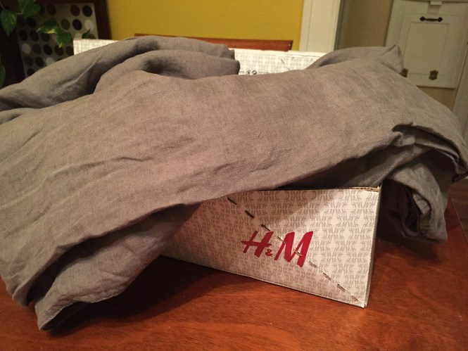 H&M Dark Grey Linen Duvet Cover, Affordable Linen Bedding