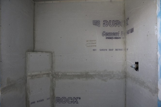 Cement board shower walls with mortar joints