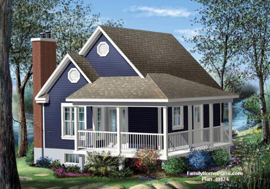 House Plans with Porches   House Plans Online   Wrap Around Porch     Small cottage with porch from Family Home Plans  49824