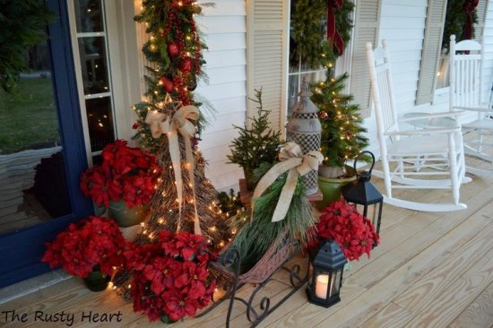 Full Size Of Decorating Ideas Marvellous Front Porch Christmas Design With Solid Wood Double Door Along