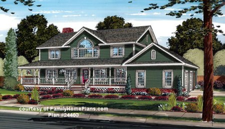 House Plans with Porches   House Plans Online   Wrap Around Porch     Luxury home plan with porch from Family Home Plans  24403