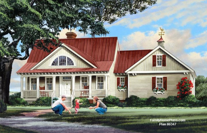 House Plans Online with Porches   House Building Plans   House     Adorable house with a sweet front porch from Family Home Plans  86347 and  shown on