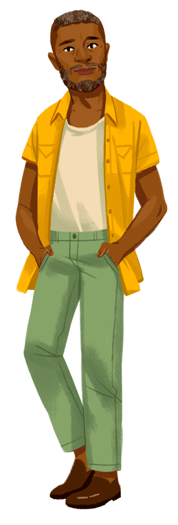 A man with salt and pepper hair and dark skin in a yellow overshirt and green pants