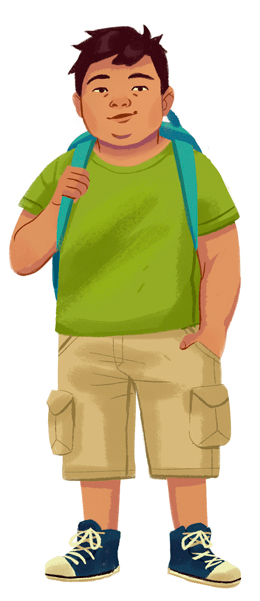 A dark haired boy with light skin in a green t-shirt and cargo shorts with a blue backpack
