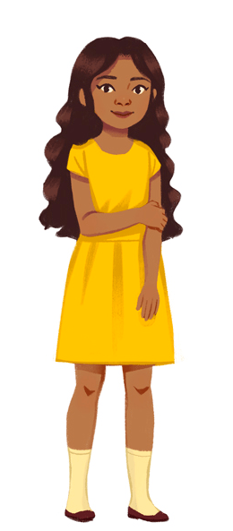 A dark haired girl with dark skin in a yellow dress