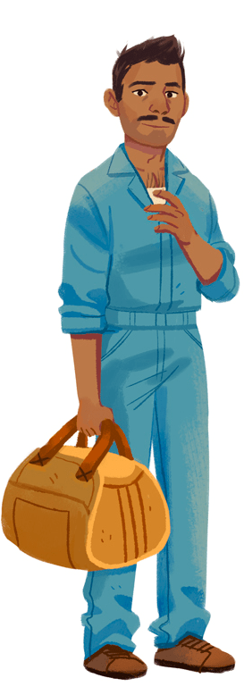A brown-haired man with dark skin in a blue jumpsuit holding a tool bag