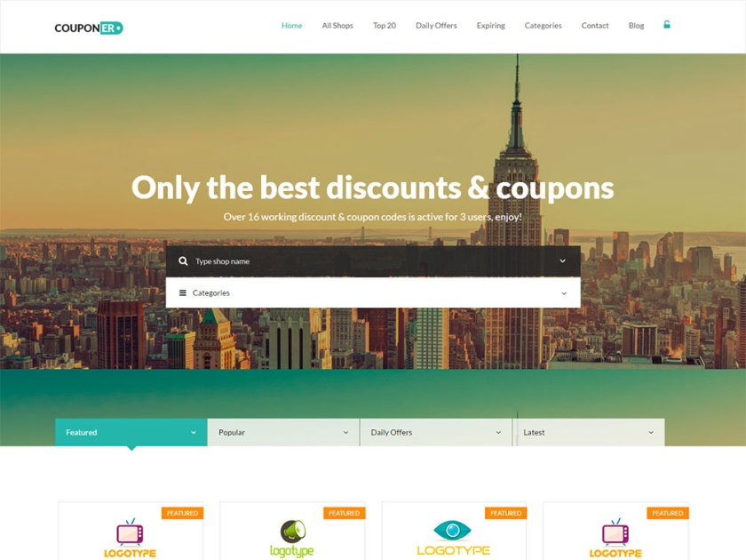 Couponer Affiliate WordPress Theme by Powerthemes