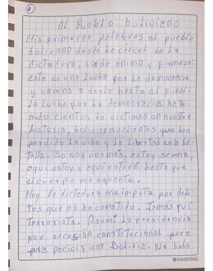 carta Bolivia Jeanine
