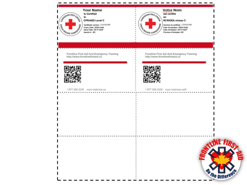 Lost Cpr Certification Card Red Cross Infocards
