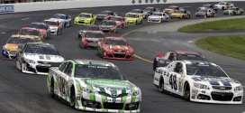 Pack racing at New Hampshire Motor Speedway.