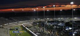 The sun sets over the Federated Auto Parts 400 at Richmond International Raceway