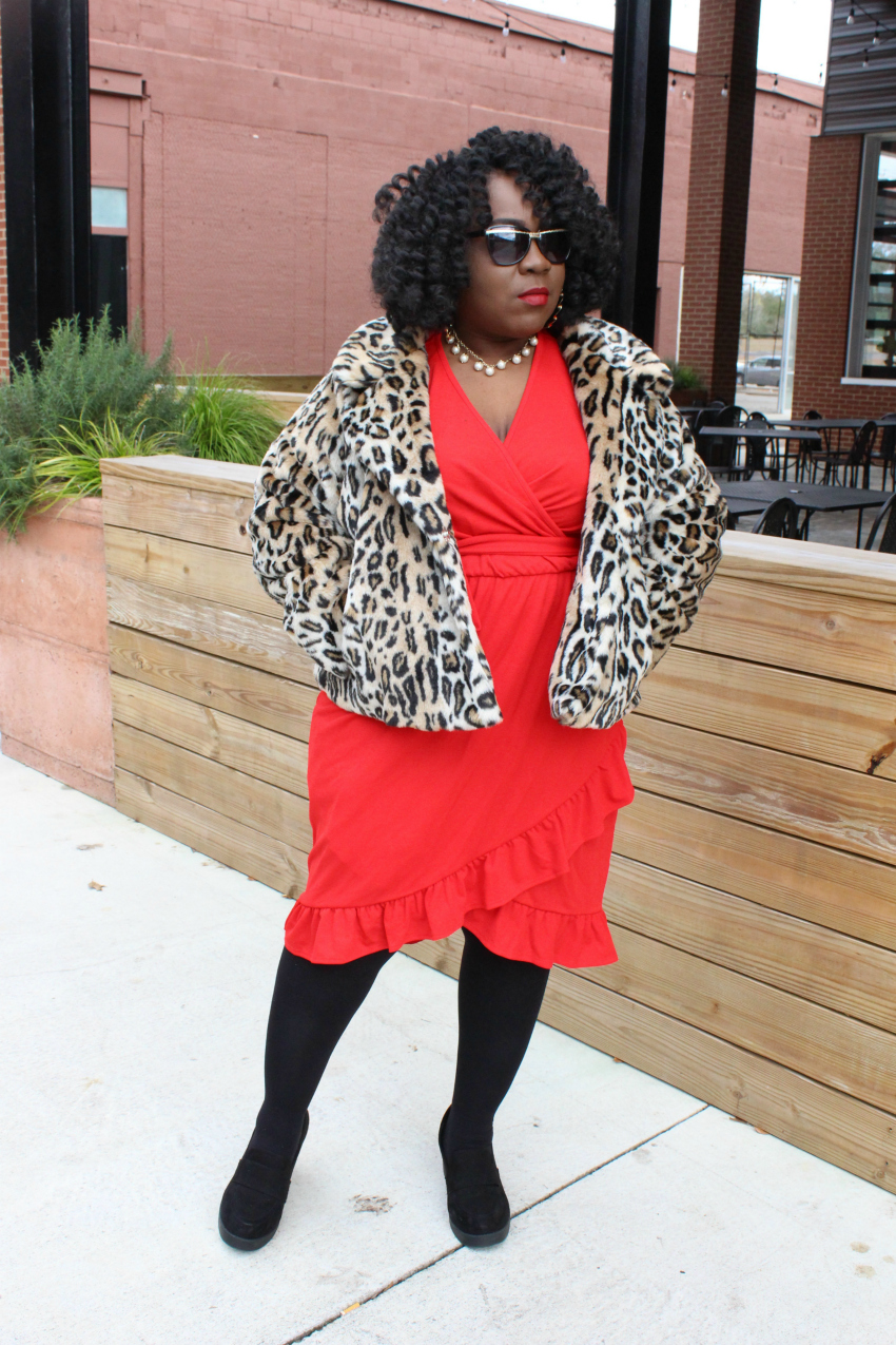 leopard print dress and red shoes