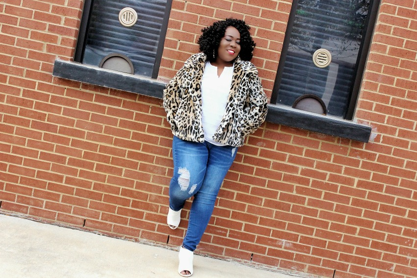 Leopard Coat and Distressed Jeans