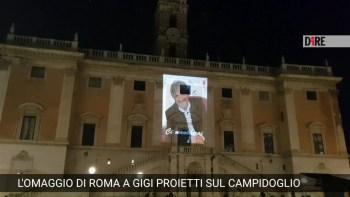 CULTURA. L'OMAGGIO DI ROMA A PROIETTI, SUA IMMAGINE PROIETTATA SU CAMPIDOGLIO.