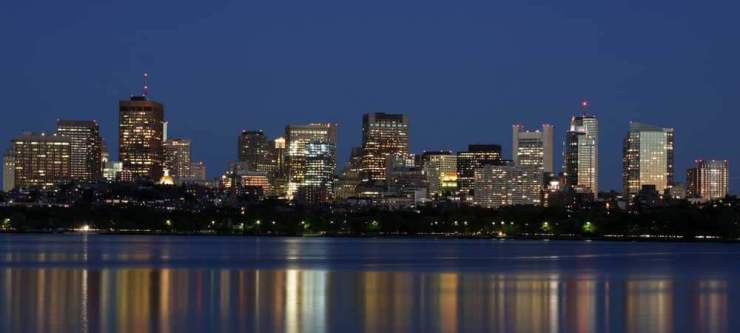 Nighttime skyline of Boston from Cambridge side of Charles River