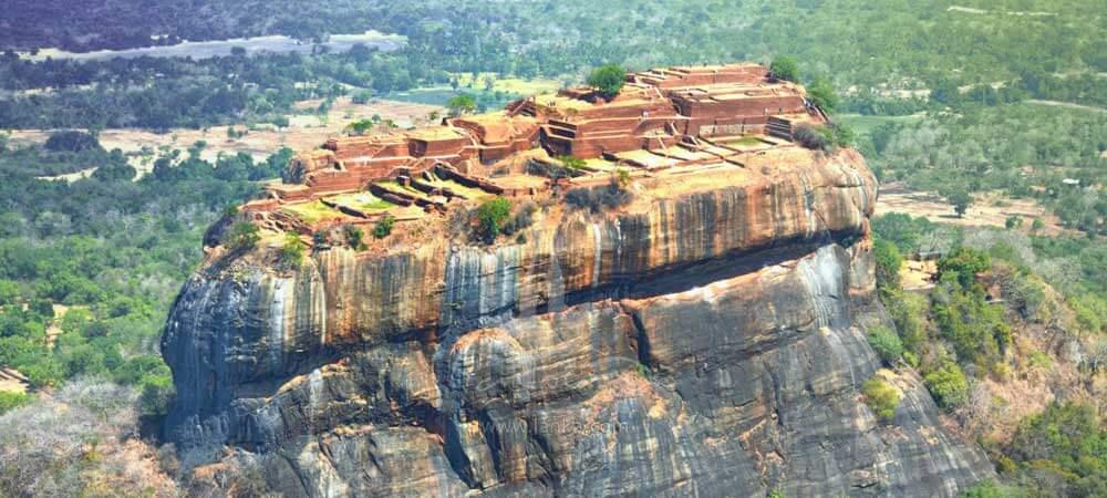 Aerial view of Sigiriya, one of 8 UNESCO sites in Sri Lanka.