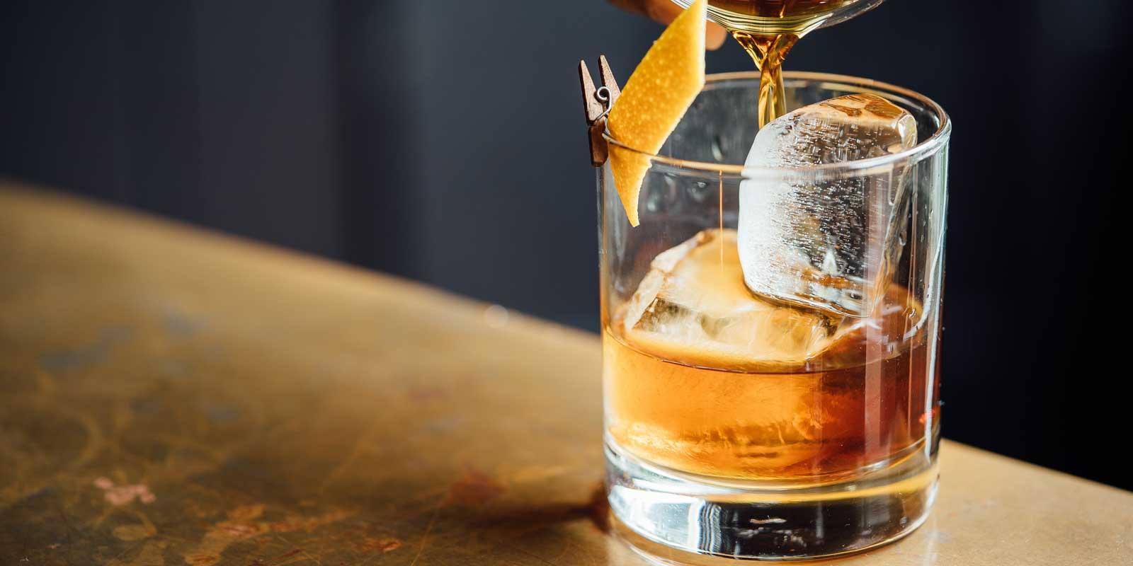Closeup of a Sazerac cocktail