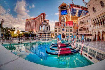 Fisheye lens photo of the gondolas at the Venetian Hotel