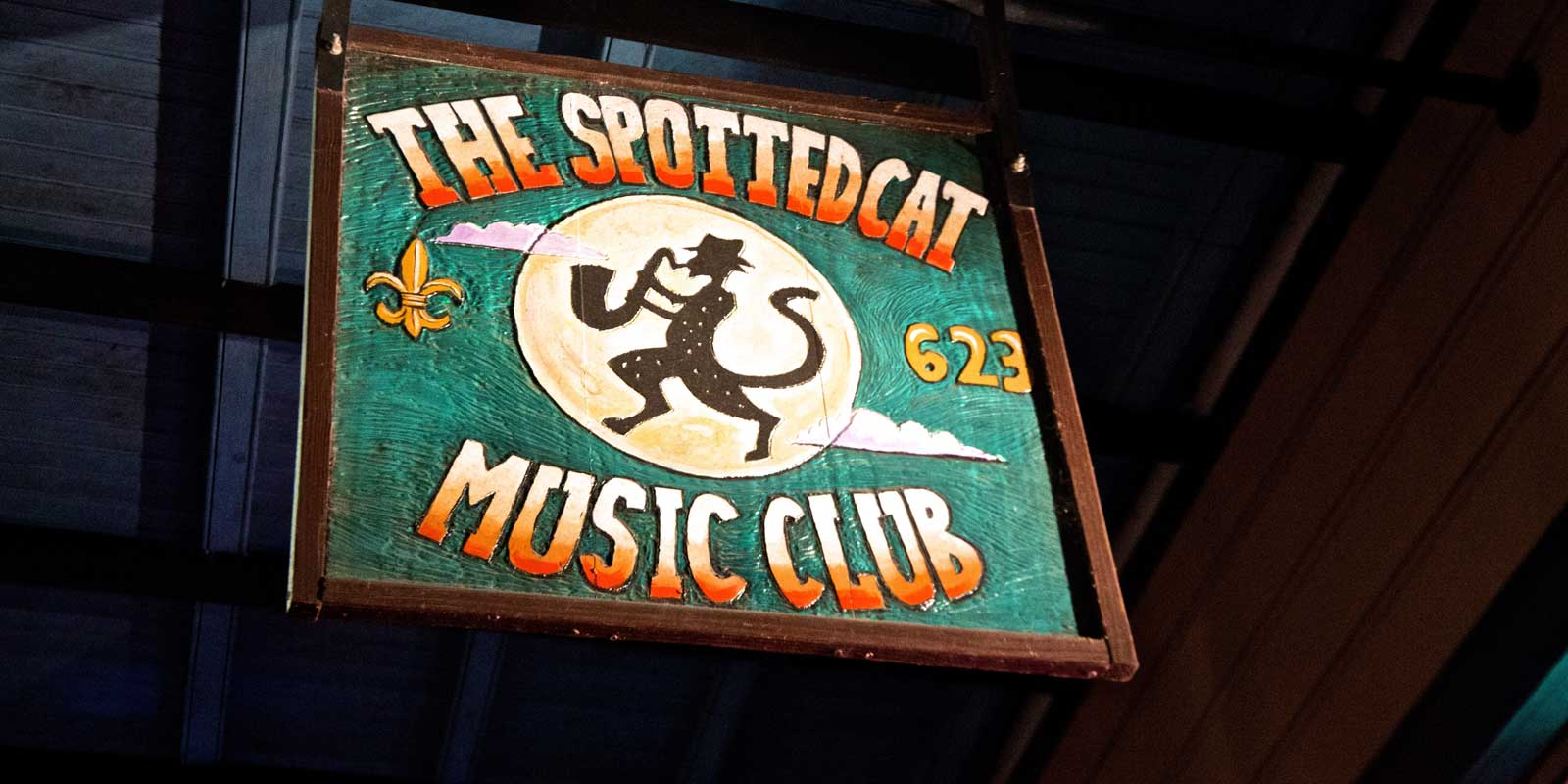 Photo of the sign for The Spotted Cat Music Club in New Orleans, Louisiana