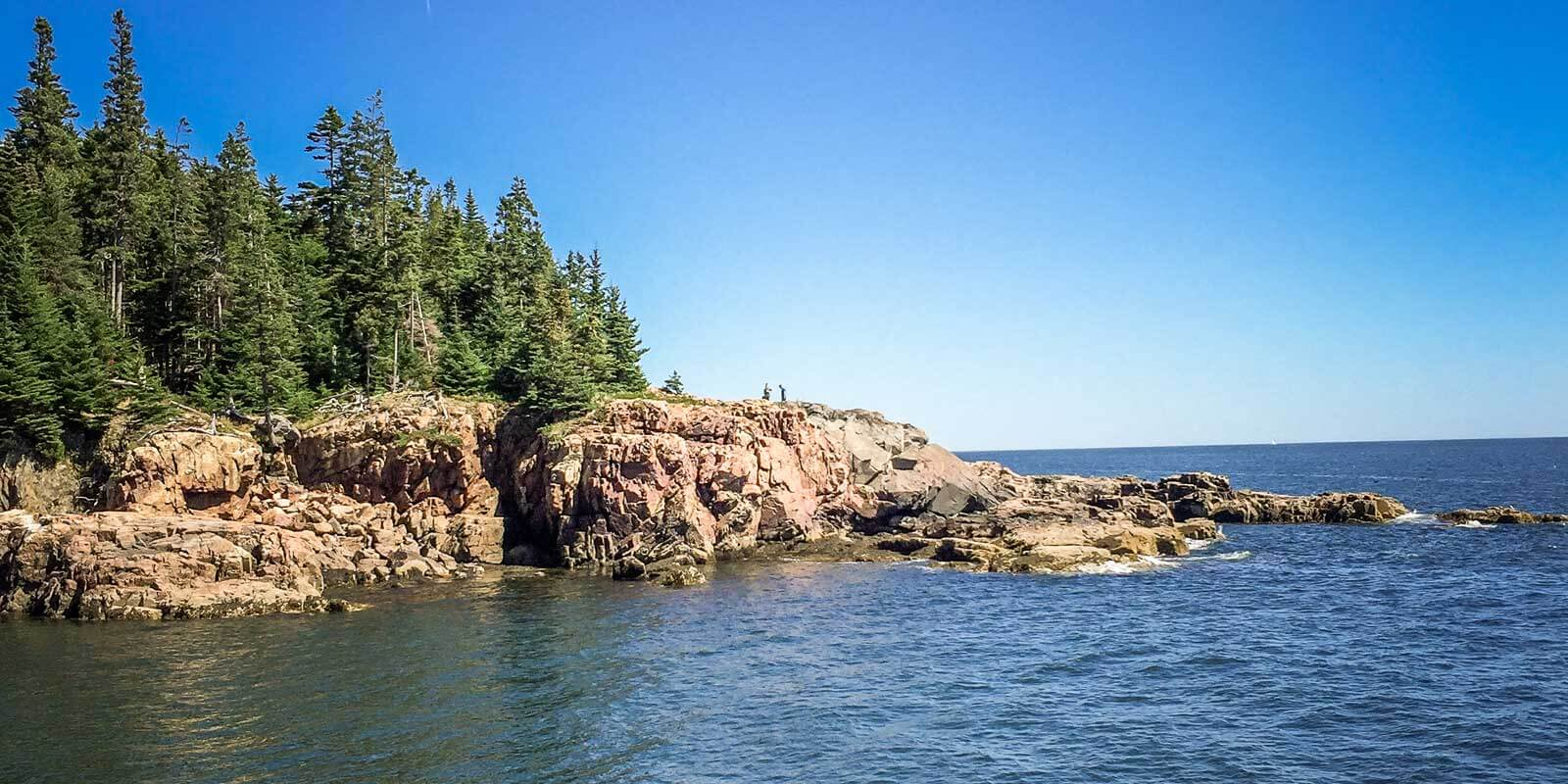Landscape view of Little Hunters Beach in Acadia National Park, Maine