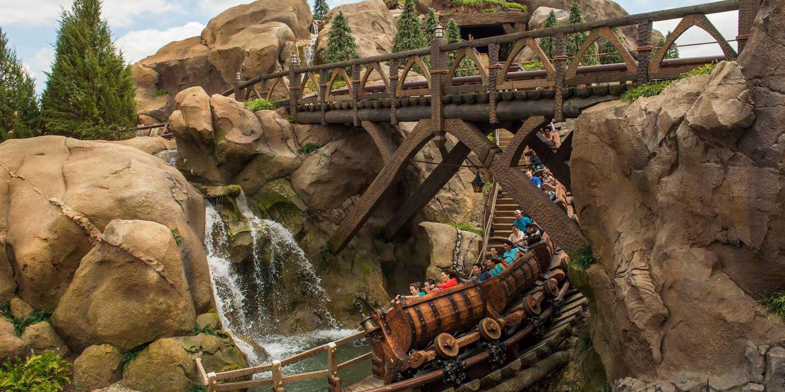 Photo of people enjoying the Seven Dwarves Mine Train at Magic Kingdom.