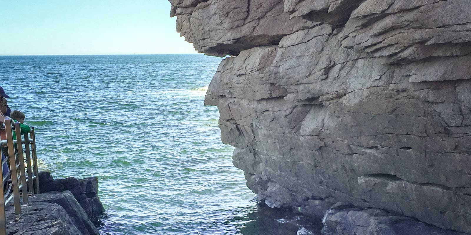 Close up shot from behind Thunder Hole cove in Acadia National Park