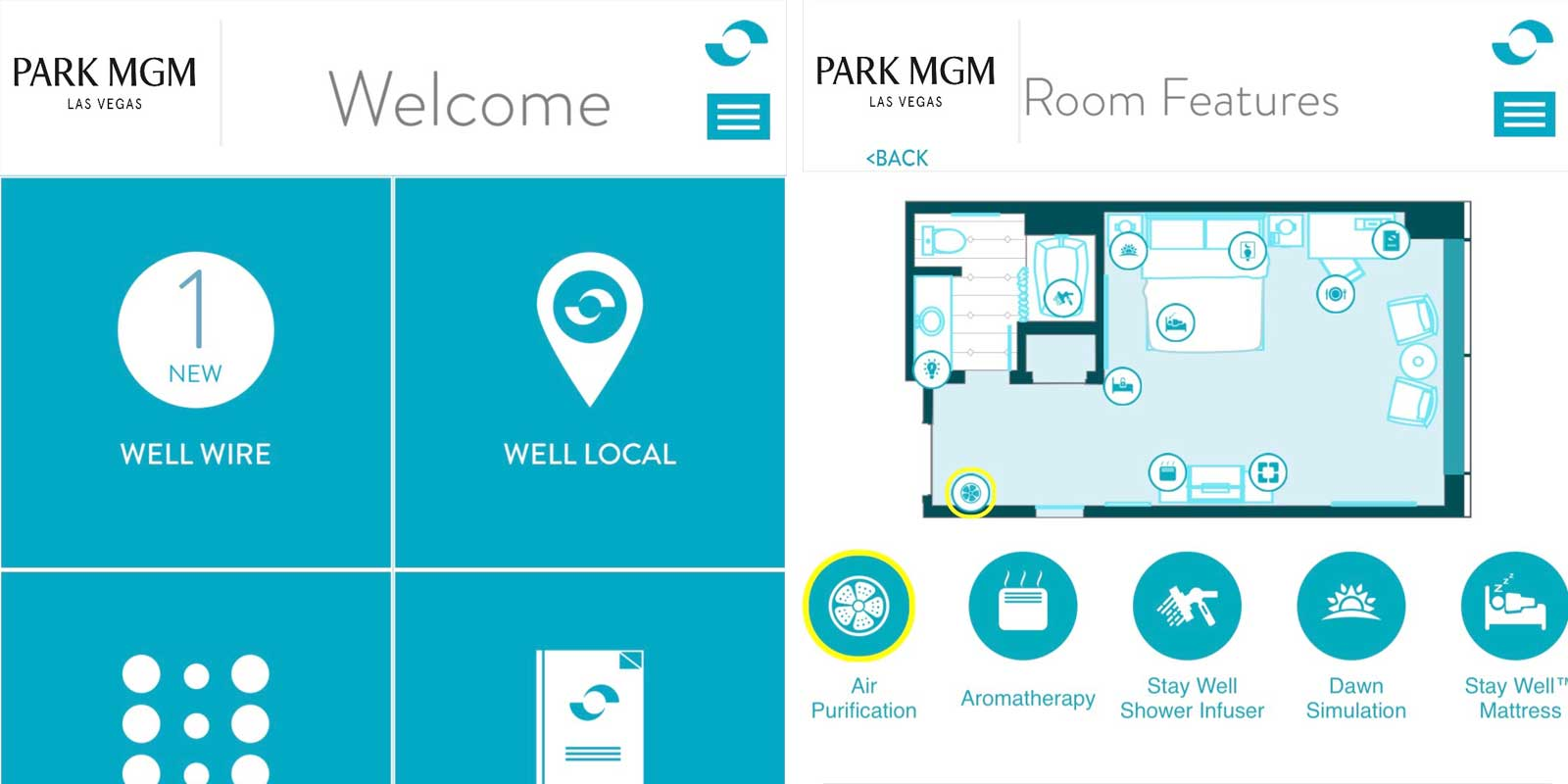 Collage of screenshots from the Park MGM Stay Well app.