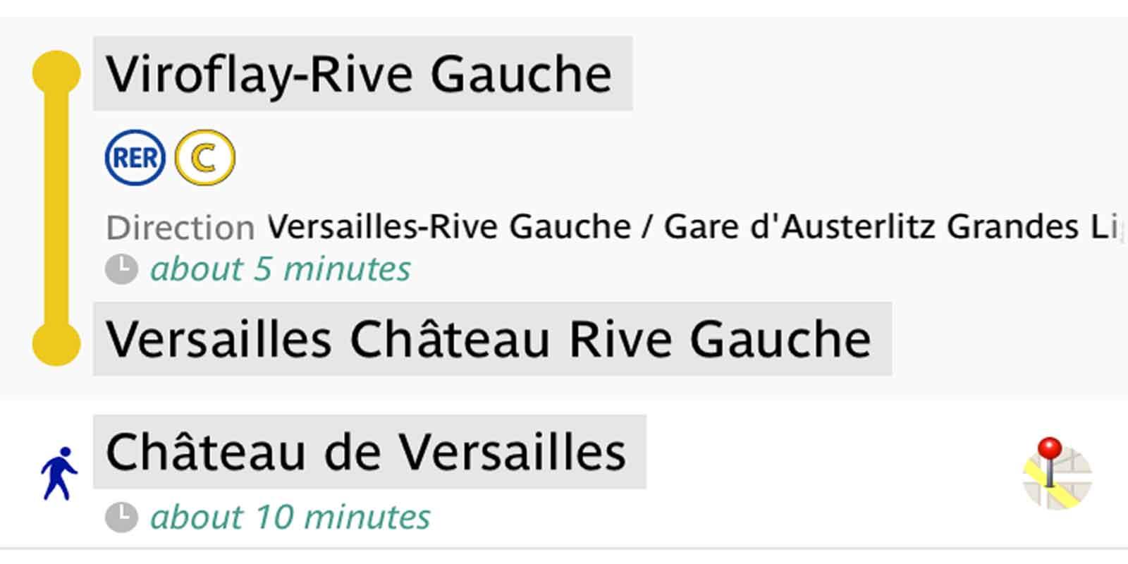 Screenshot of directions to Chateau de Versailles via Paris RER train.