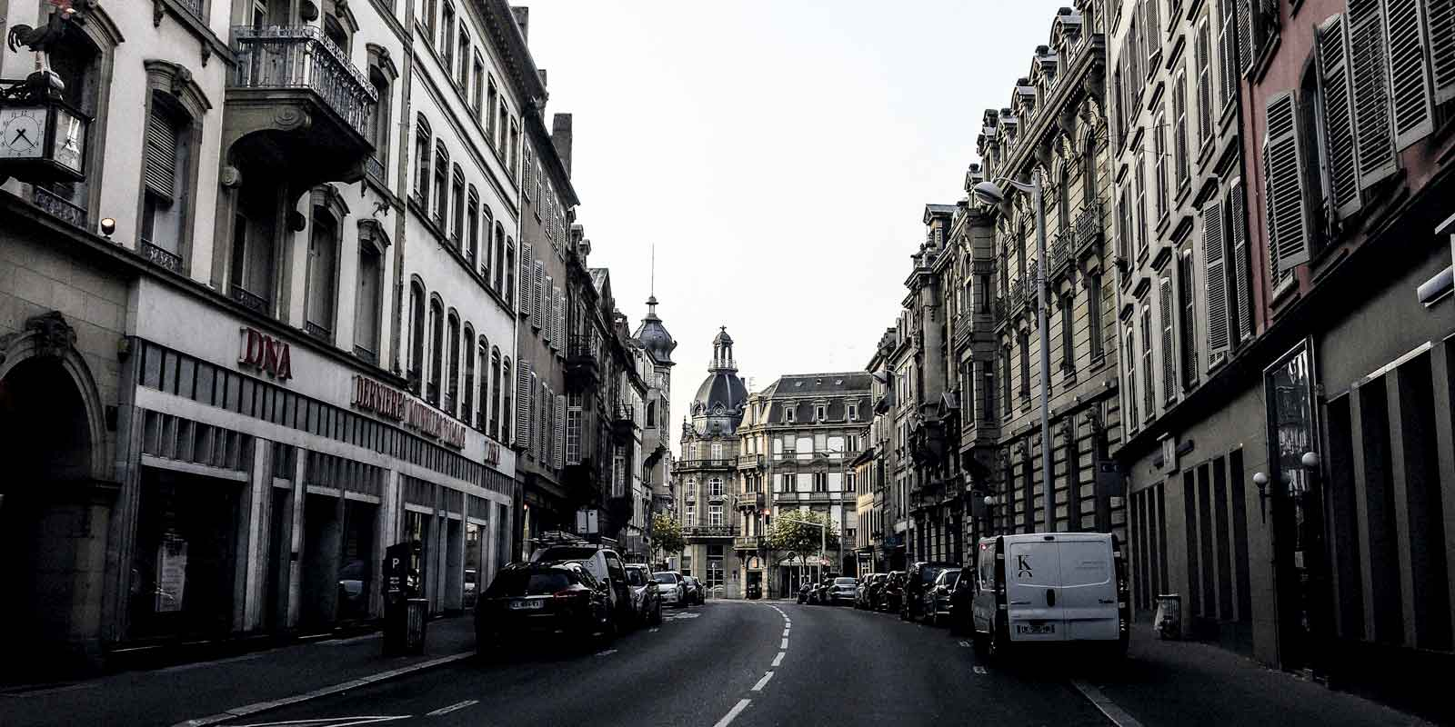 View of Strasbourg from the middle of a street