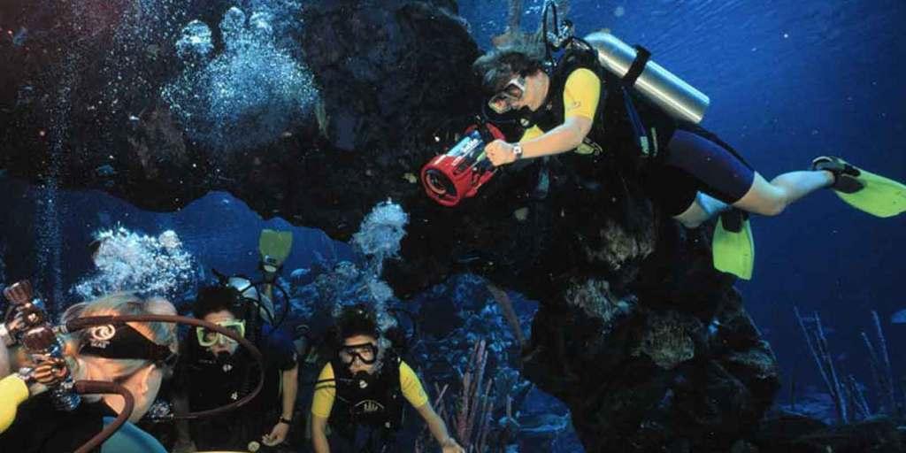 Four people scuba diving in the aquarium at Epcot.