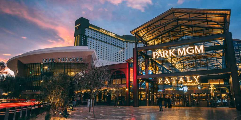 Landscape view of the buildings that make up the Park Theater, Park MGM hotel towers, and Eataly.