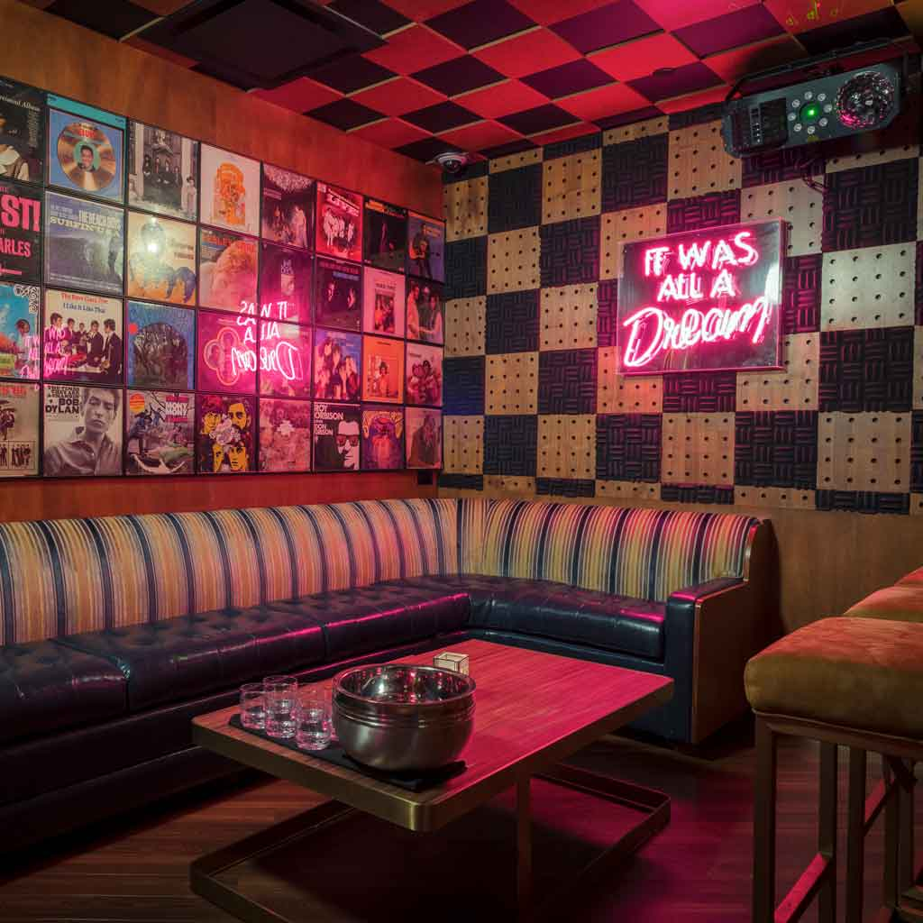 "Closeup of a corner at On the Record with the walls covered with bright, vintage record covers and a neon pink sign that reads ""It was all a dream."""