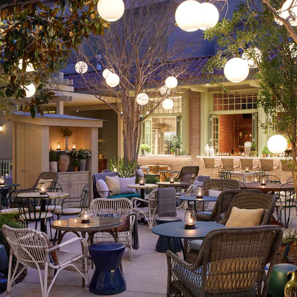 Closeup of the outdoor dining area for Primrose at the Las Vegas Park MGM hotel.