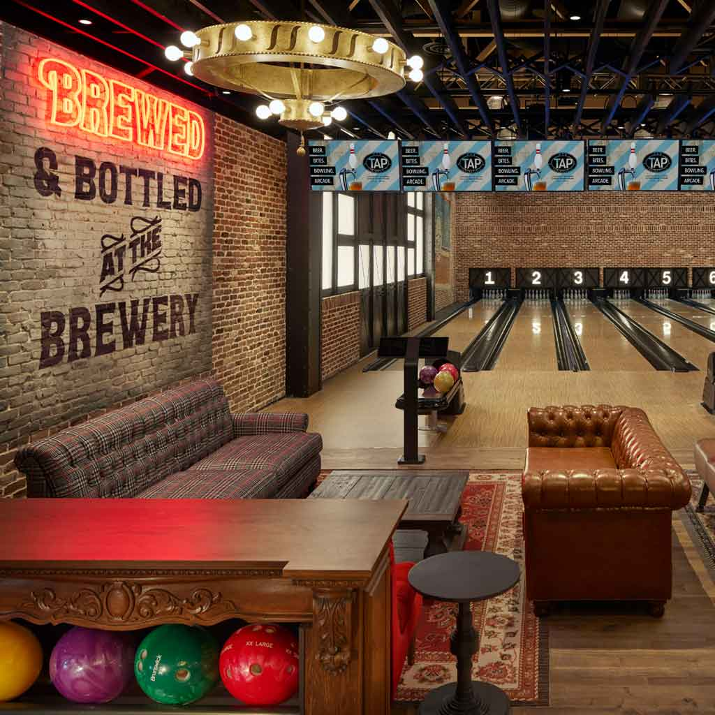 Tap at MGM Springfield, a brewery and bowling spot.