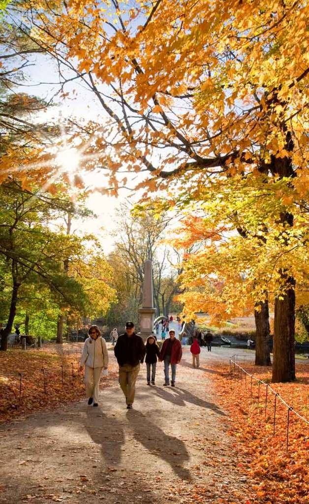 People walking on a path in the Concord, MA section of Minute Man National Historical Park with orange, yellow, and green trees along the landscape.