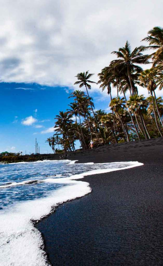 Closeup of the black sand Punalu'u Beach on the Big Island of Hawaii.