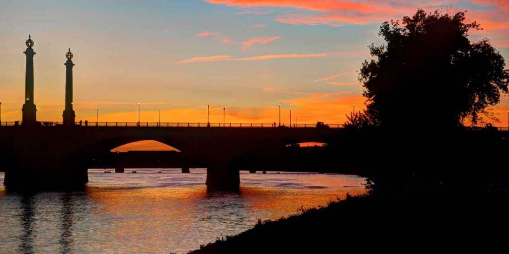 Landscape view of Memorial Bridge in Springfield at sunset.