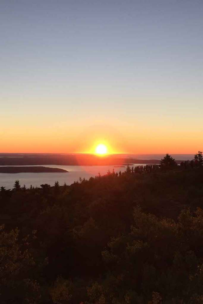 View of the sunrise from Cadillac Mountain.