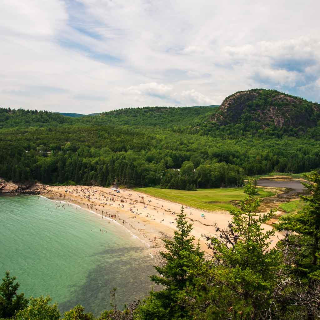 Aerial view of Sand Beach in Acadia.