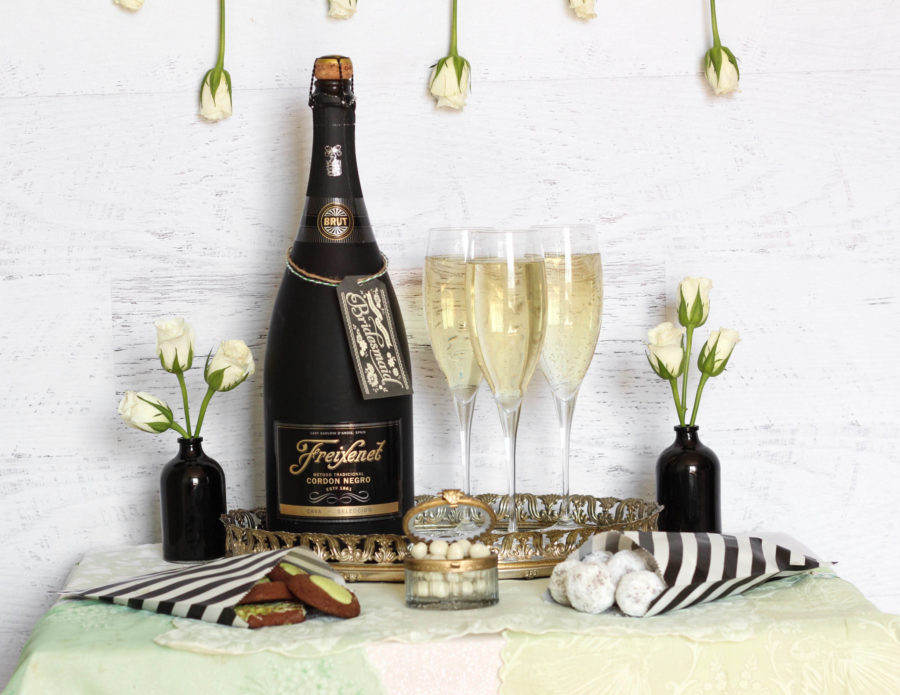 Freixenet champagne and sweets bridal suite table tutorial DIY 2