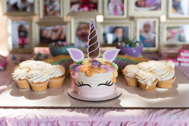 Unicorn Birthday, Party, Rainbow, Dessert Table
