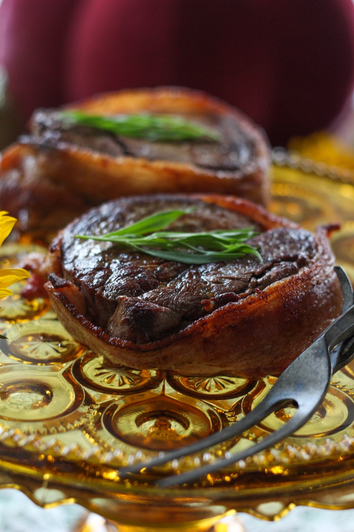 Bacon Wrapped Filet with Chardonnay Pumpkin Sauce