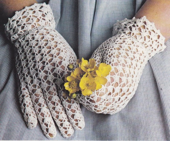 gants dentelle blancs
