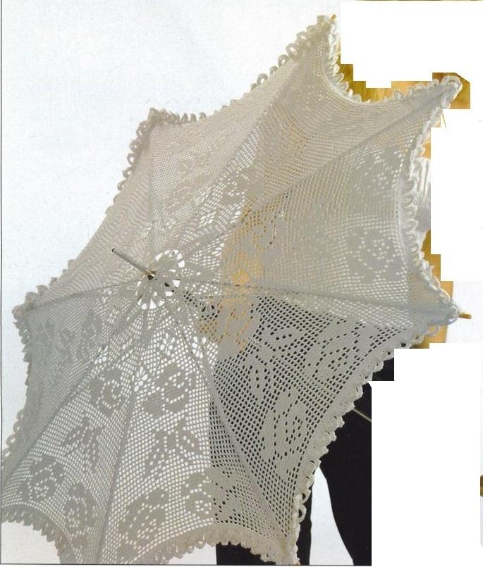 Ombrelle en crochet filet à décor de roses et papillons