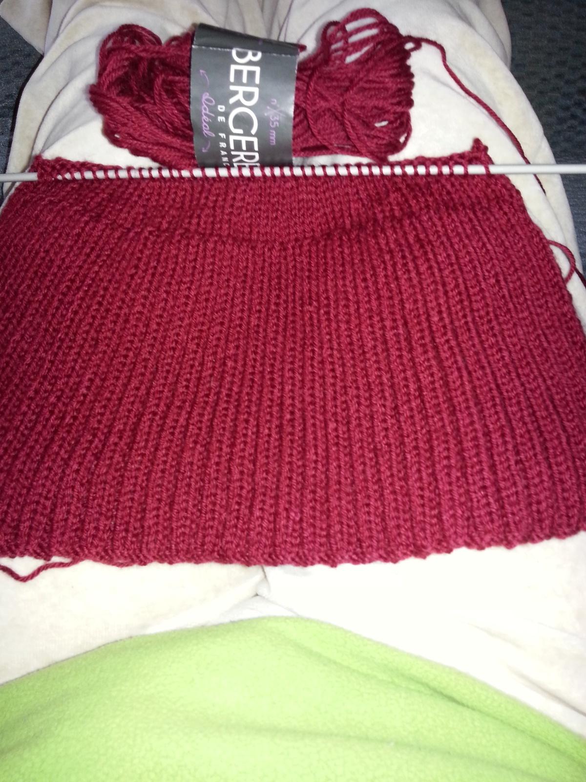 Le bonnet est presque terminé. J'ai choisi de la laine BDF Ideal.
