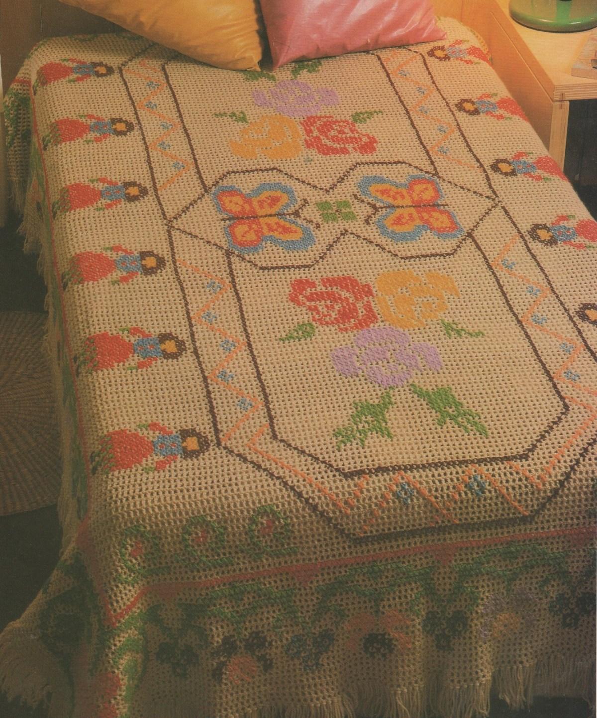 CROCHET : dessus de lit rebrodé BULGARE tutoriel gratuit