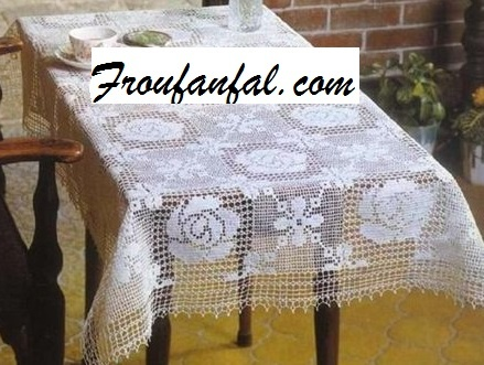 CROCHET : nappe rectangle patch ROSES ET STYLISES tutoriel gratuit