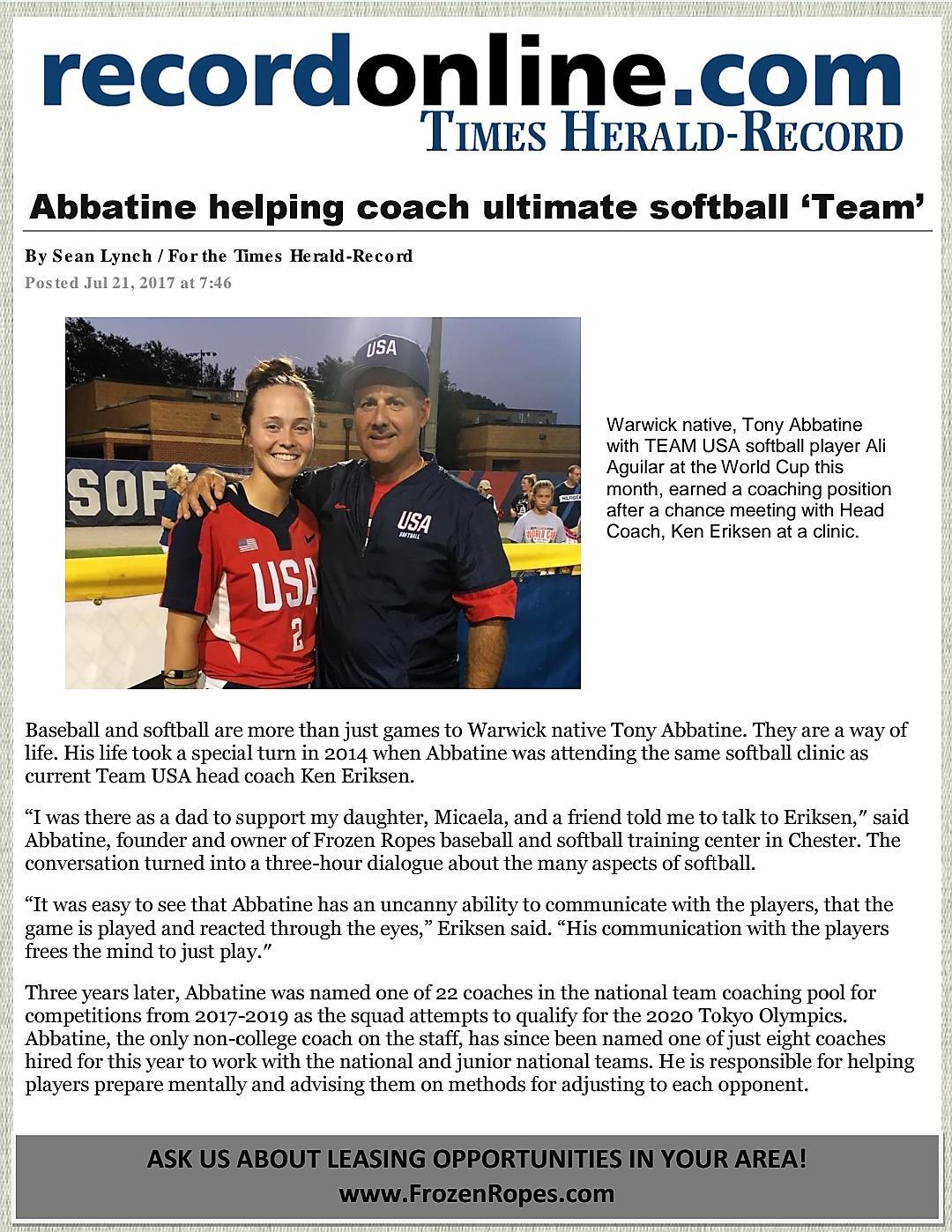 Frozen Ropes USA, Chester, Tony Abbatine, Times Herald Record, Team USA, Softball
