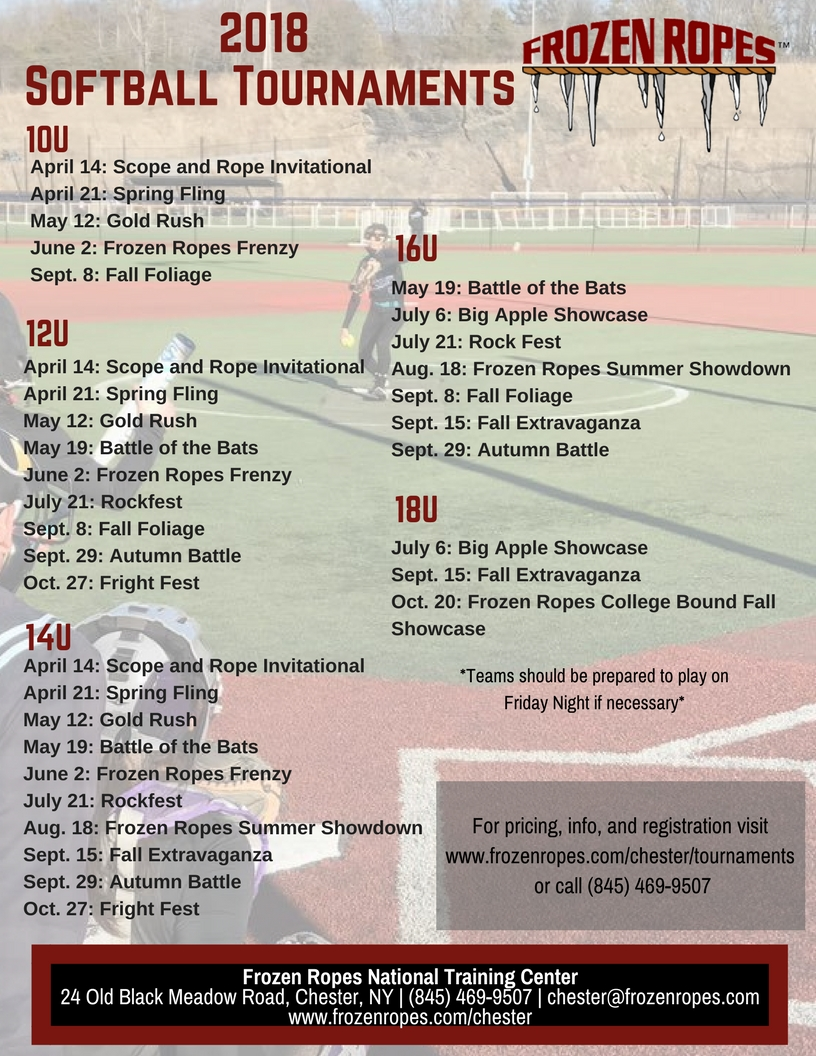 Frozen Ropes Softball Tournament National Training Center 2018