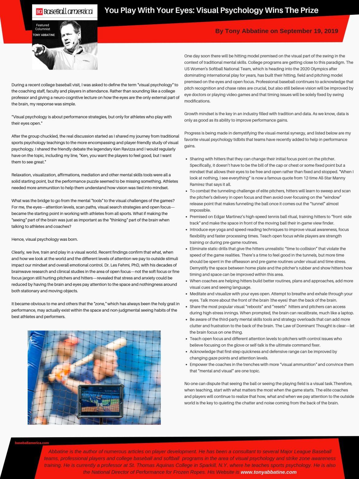 Tony Abbatine bi-weekly column in Baseball America: Visual Psych Wins the Prize